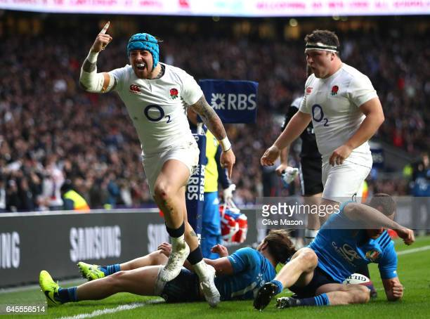 Jack Nowell of England celebrates scoirng his teams fourth try during the RBS Six Nations match between England and Italy at Twickenham Stadium on...