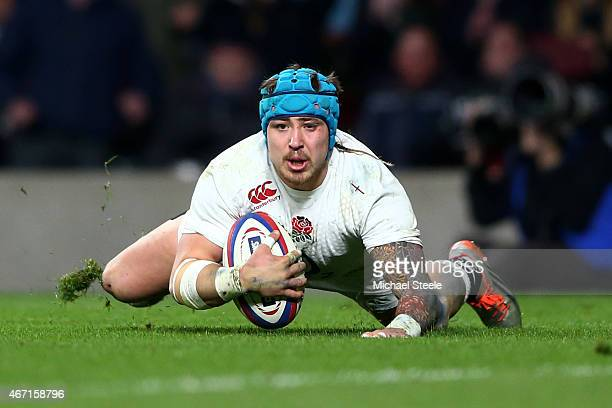 Jack Nowell of England dives over to score England's fifth try during the RBS Six Nations match between England and France at Twickenham Stadium on...