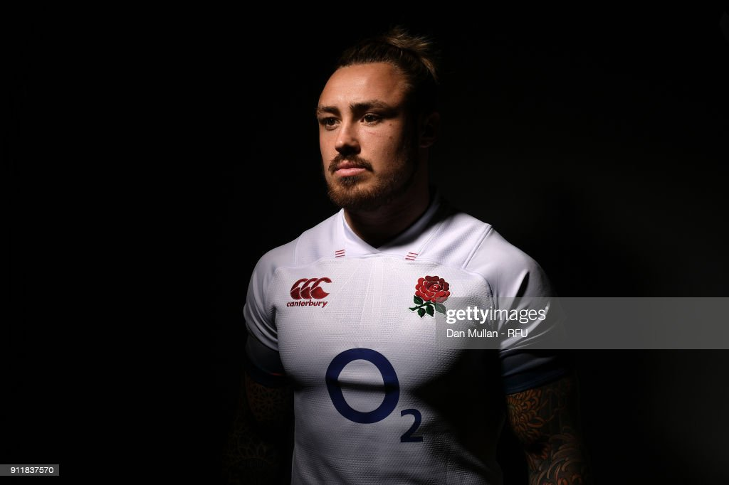 Jack Nowell of England poses for a portrait during the England Elite Player Squad Photo call at Pennyhill Park on January 29, 2018 in Bagshot, England.