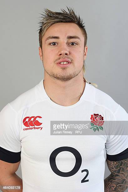 Jack Nowell of England poses for a portrait during the England Six Nations Squad Photo Call at the Penny Hill Hotel on January 20 2014 in Bagshot...