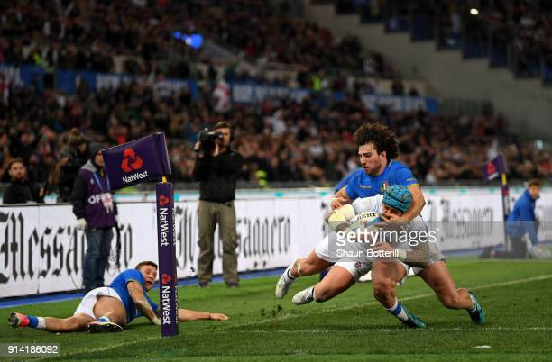 Jack Nowell of England touches down for the seventh try during the NatWest Six Nations round One match between Italy and Engalnd at Stadio Olimpico...