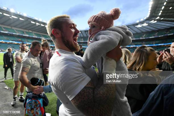 Jack Nowell of England with his daughter following the Guinness Six Nations match between England and France at Twickenham Stadium on February 10...