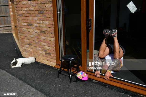 Jack Nowell of Exeter Chiefs and England exercises at home during the Coronavirus Lockdown on May 13, 2020 in Exeter, England.
