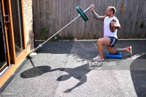 Jack Nowell of Exeter Chiefs and England exercises at home during the Coronavirus Lockdown on May 13 2020 in Exeter England