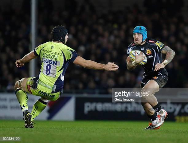 Jack Nowell of Exeter Chiefs attempts to get past Josh Beaumont of the Sale Sharks during the Exeter Chiefs v Sale sharks Aviva Premiership Match at...