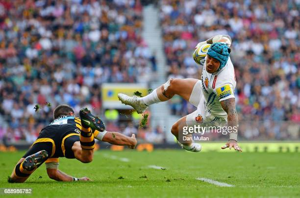 Jack Nowell of Exeter Chiefs is tackled by Willie Le Roux of Wasps during the Aviva Premiership Final between Wasps and Exeter Chiefs at Twickenham...