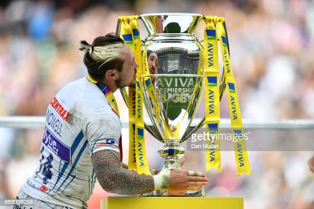 Jack Nowell of Exeter Chiefs kisses the Aviva Premiership trophy after the Aviva Premiership Final between Wasps and Exeter Chiefs at Twickenham...