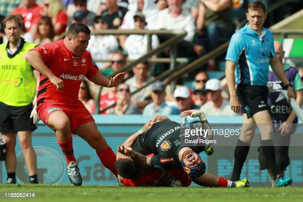 Jack Nowell of Exeter Chiefs reacts as he is tackled during the Gallagher Premiership Rugby Final between Exeter Chiefs and Saracens at Twickenham...