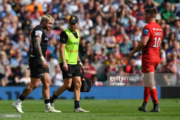 Jack Nowell of Exeter Chiefs walks off the pitch after receiving medical treatment during the Gallagher Premiership Rugby Final between Exeter Chiefs...