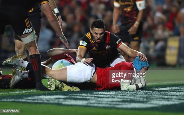 Jack Nowell of the Lions dives over to score the opening try during the 2017 British Irish Lions tour match between the Chiefs and the British Irish...