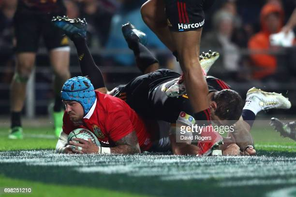 Jack Nowell of the Lions goes over to score his team's second try during the 2017 British Irish Lions tour match between the Chiefs and the British...