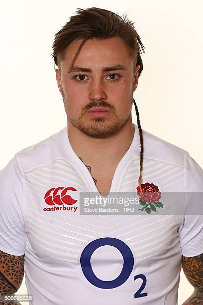 Jack Nowell poses during the England EPS Six Nations Squad Portrait session at Pennyhill Park on January 25 2016 in Bagshot England