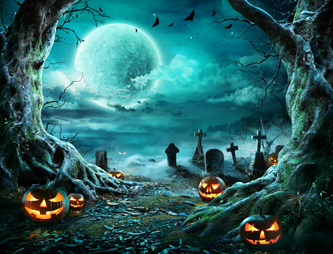 Jack 'O Lantern In Cemetery In Spooky Night With Full Moon 1171813204
