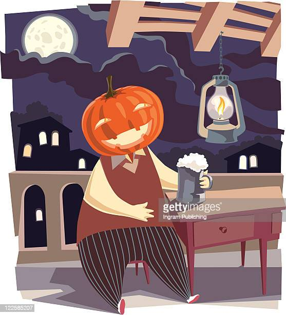 jack o' lantern with a pint of beer. - cartoon halloween stock photos and pictures