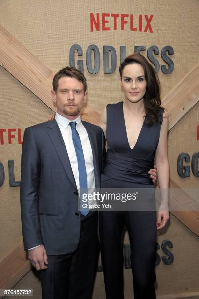 Jack O'Connell and Michelle Dockery attend 'Godless' New York premiere at The Metrograph on November 19 2017 in New York City