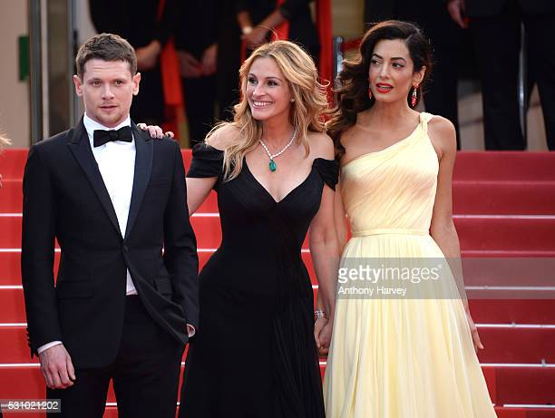 Jack O'Connell, Julia Roberts and Amal Clooney attend the 'Money Monster' premiere during the 69th annual Cannes Film Festival at the Palais des...