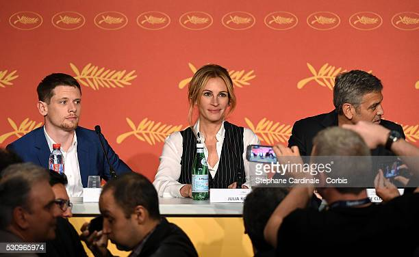 Jack O'Connell Julia Roberts and George Clooney attend the 'Money Monster' press conference during the 69th annual Cannes Film Festival at the Palais...