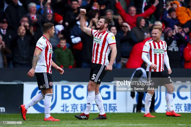 Jack O'Connell of Sheffield United celebrates after scoring a goal to make it 20 during the Sky Bet Championship match between Sheffield United and...