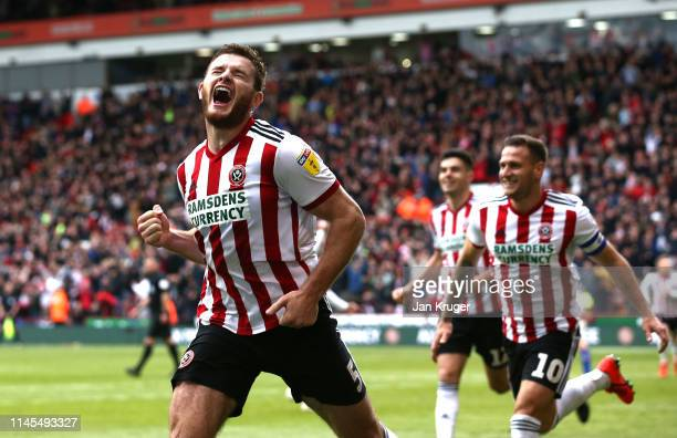 Jack O'Connell of Sheffield United celebrates after scoring his team's second goal during the Skybet Championship match between Sheffield United and...
