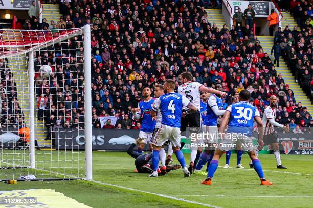 Jack O'Connell of Sheffield United scores a goal to make it 20 during the Sky Bet Championship match between Sheffield United and Ipswich Town at...