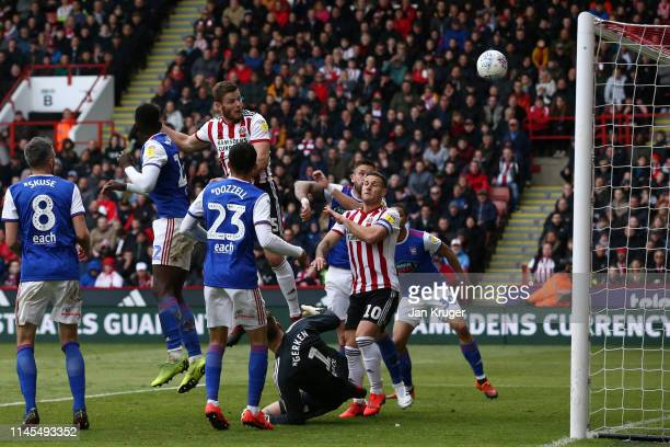 Jack O'Connell of Sheffield United scores his team's second goal during the Skybet Championship match between Sheffield United and Ipswich Town at...