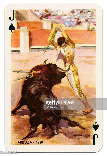 Baraja Taurina bullfighter Jack of Spades 1965