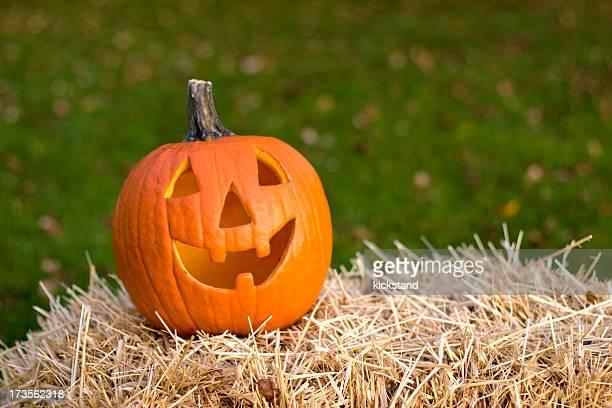 jack o'lantern - halloween pumpkin stock photos and pictures