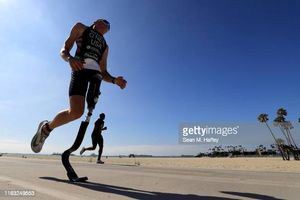 Jack O'Neil and Michael Smith compete during the Legacy Triathlon-USA Paratriathlon National Championships on July 20, 2019 in Long Beach, California.