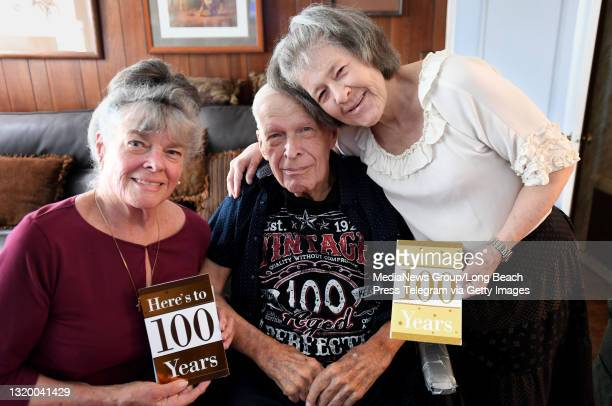 Jack Orr, a World War II Veteran, with his daughters Dorothy Orr, left, and Diane West, right in Lakewood on Tuesday, May 25, 2021. Jack celebrated...