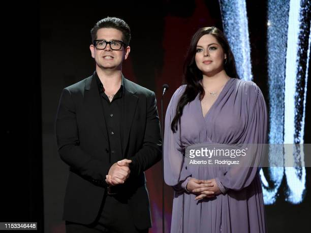Jack Osbourne and Katrina Weidman speak onstage during the Critics' Choice Real TV Awards at The Beverly Hilton Hotel on June 02 2019 in Beverly...