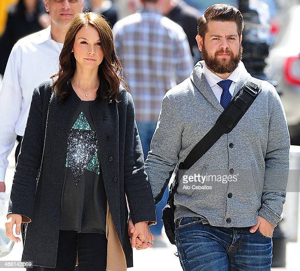 Jack Osbourne and Lisa Stelly are seen in Tribeca on April 22 2014 in New York City