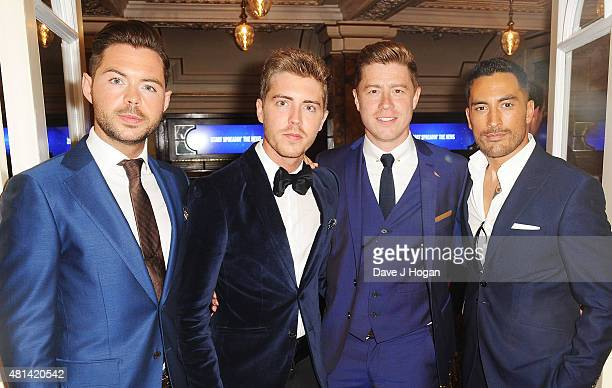 Jack Pack Martin McCafferty Alfie Palmer Andrew Bourn and Sean Ryder Wolf attend the press night of 'Sinatra At The London Palladium' at London...