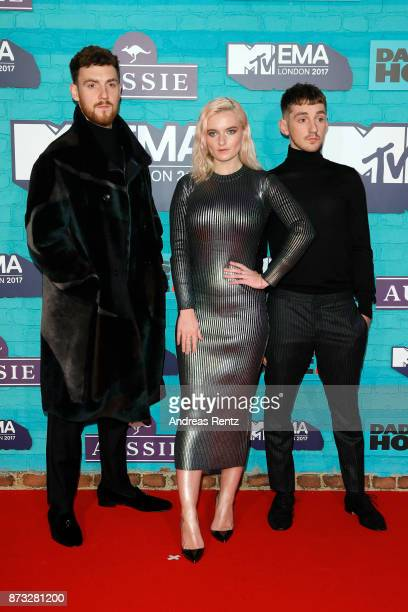 Jack Patterson Grace Chatto and Luke Patterson of Clean Bandit attend the MTV EMAs 2017 held at The SSE Arena Wembley on November 12 2017 in London...