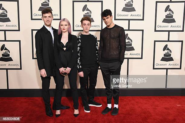 Jack Patterson Grace Chatto Luke Patterson and Milan Neil AminSmith of Clean Bandit attends The 57th Annual GRAMMY Awards at the STAPLES Center on...