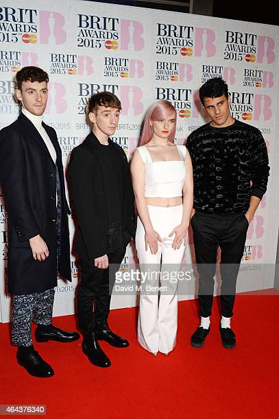 Jack Patterson Luke Patterson Grace Chatto and Milan Neil AminSmith of Clean Bandit attends the BRIT Awards 2015 at The O2 Arena on February 25 2015...