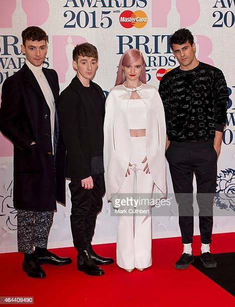 Jack Patterson Luke Patterson Grace Chatto and Milan Neil AminSmith of Clean Bandit attend the BRIT Awards 2015 at The O2 Arena on February 25 2015...
