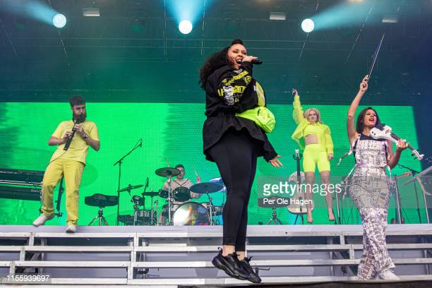 Jack Patterson Luke Patterson Yasmin Greene Grace Chatto and Stephanie Benedetti from Clean Bandit on stage at Bergenfest on June 14 2019 in Bergen...