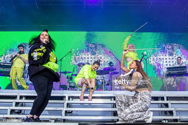 Jack Patterson Yasmin Greene Grace Chatto Kirsten Joy Stephanie Benedetti Grace Chatto Sam Skirrow from Clean Bandit on stage at Bergenfest on June...