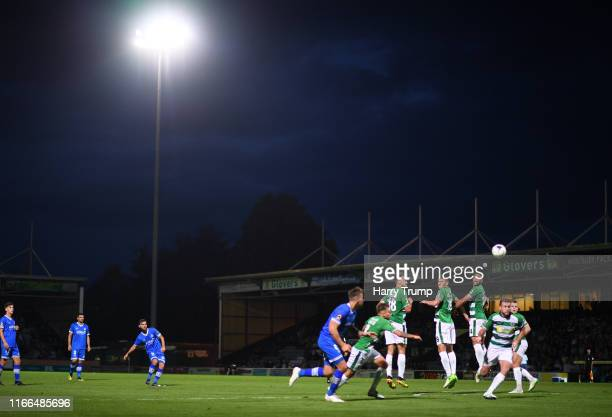 Jack Payne of Eastleigh attempts a shot on goal through a free kick during the Vanarama National League match between Yeovil Town and Eastleigh FC at...