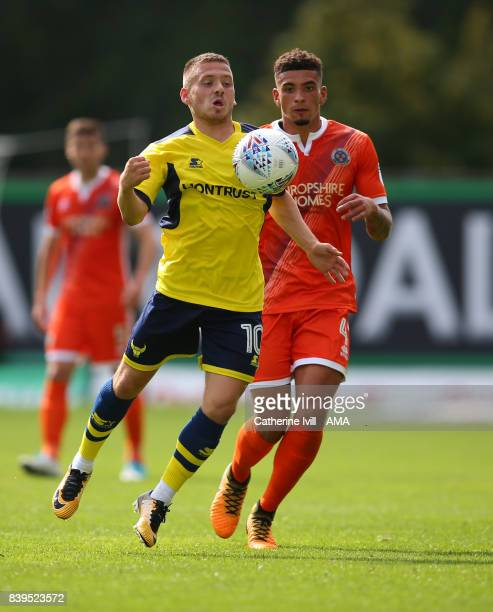 Jack Payne of Oxford United and Ben Godfrey of Shrewsbury Town during the Sky Bet League One match between Oxford United and Shrewsbury Town at...
