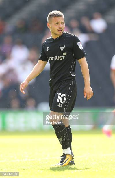 Jack Payne of Oxford United in action during the Sky Bet League One match between Milton Keynes Dons and Oxford United at StadiumMK on September 2...