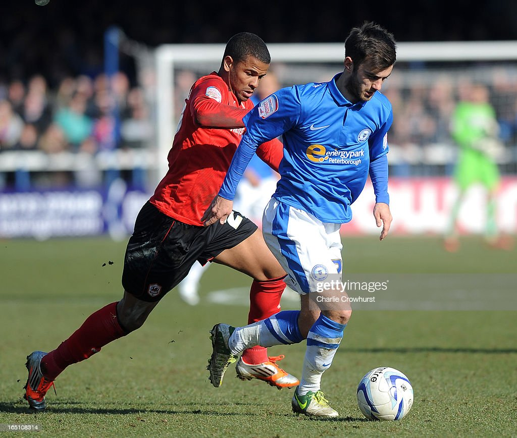 Jack Payne of Peterborough holds off Fraizer Campbell of Cardiff City during the npower Championship match between Peterborough United and Cardiff City at London Road on March 30, 2013 in Peterborough, England,