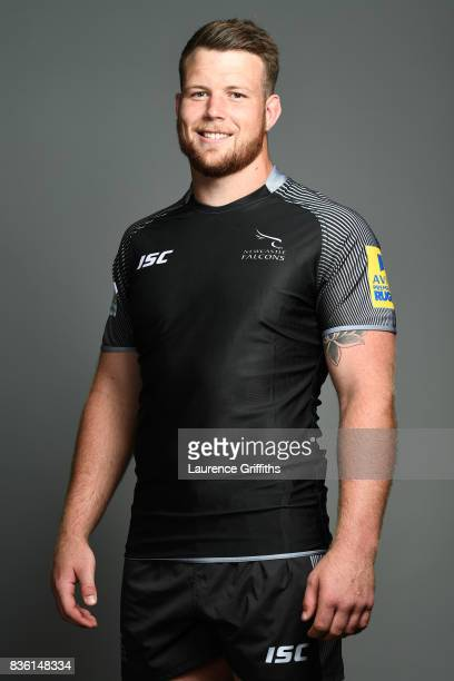 Jack Payne of the Newcastle Falcons poses for a portrait during the Newcastle Falcons photocall at Kingston Park on August 17 2017 in Newcastle upon...