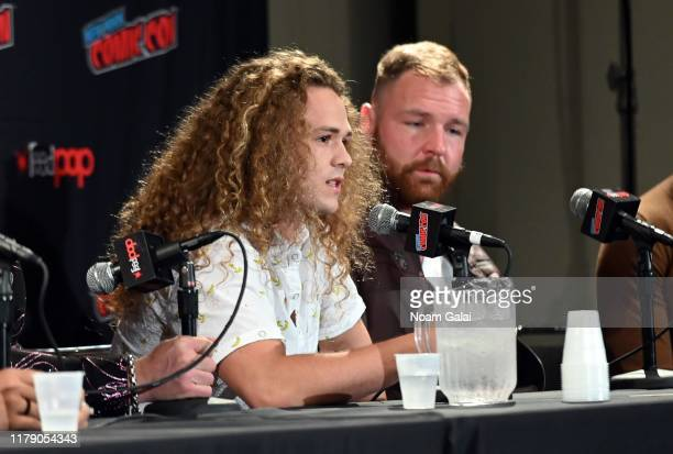 Jack Perry aka Jungle Boy and Jon Moxley attend the All Elite Wrestling panel during 2019 New York Comic Con at Jacob Javits Center on October 04...