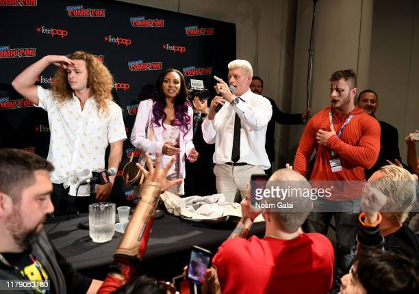 Jack Perry aka Jungle Boy Brandi Rhodes Cody Rhodes and Maxwell Jacob Friedman aka MJF attend the All Elite Wrestling panel during 2019 New York...
