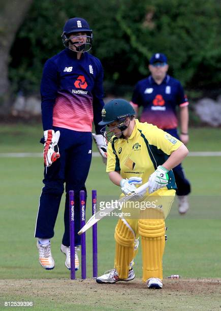 Jack Perry of England leaps for joy as Haydn Brumm of Australia is bowled during the INAS Learning Disability TriSeries Trophy game between England...
