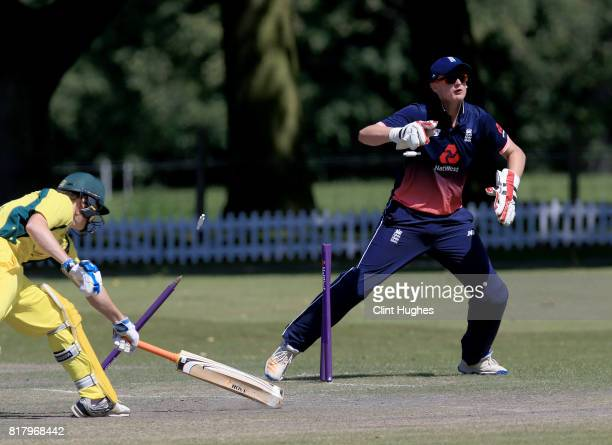 Jack Perry of England runs out Brendan Westlake of Australia during the T20 INAS TriSeries at Toft Cricket Club on July 18 2017 in Knutsford England