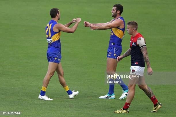 Jack Petruccelle and Jack Darling of the Eagles celebrate a goal during the round 1 AFL match between the West Coast Eagles and the Melbourne Demons...