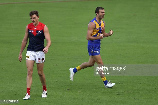 Jack Petruccelle of the Eagles celebrates a goal during the round 1 AFL match between the West Coast Eagles and the Melbourne Demons at Optus Stadium...