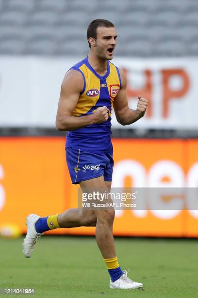 Jack Petruccelle of the Eagles celebrates after scoring a goal during the round 1 AFL match between the West Coast Eagles and the Melbourne Demons at...